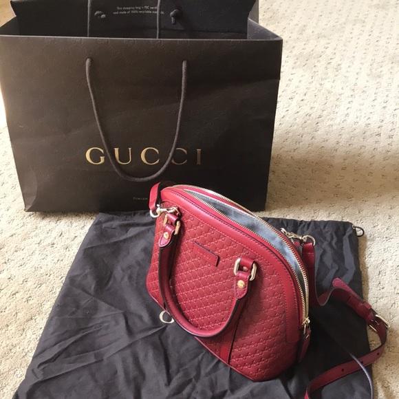 42a351cb9786 Gucci Handbags - Gucci authentic red mini dome crossbody